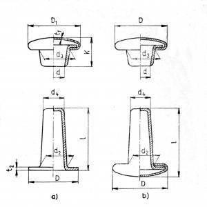 a – open rivet, b – closed rivet